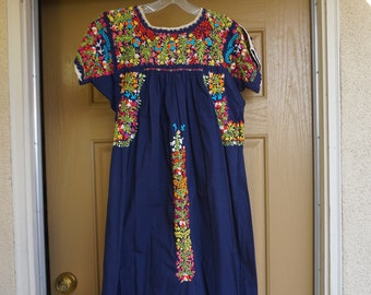 cccd0f976d14b Oaxacan vintage dak blue small medium large tent dress ethnic mexican  floral embroidery made in mexico traditional