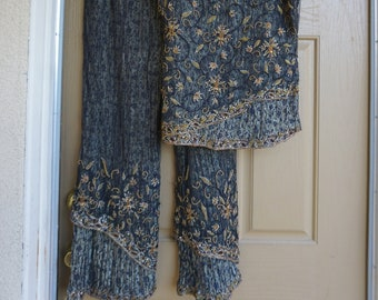 Pants and top beaded with sheer overlay XL size 42