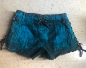 TRIPP tie dye jean denim shorts with laces size 0 XS corset lace up sexy