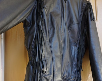 b7ae8077900 Harley Davidson Vintage Black Leather Motorcycle   Biker Jacket WOMENS Size  XL Extra Large 1980s 1990s 80s 90s genuine authentic real