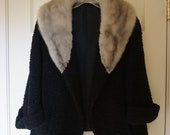 Woman 39 s 1960s fully lined curly lamb fur coat with mink collar 60s