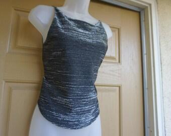 Vintage 90s black sequined sheer oversize shirt blouse 12-16