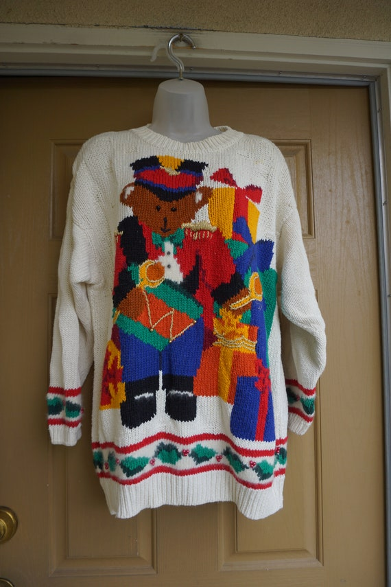 HAND KNIT  Vintage Christmas sweater Size 1X  1990