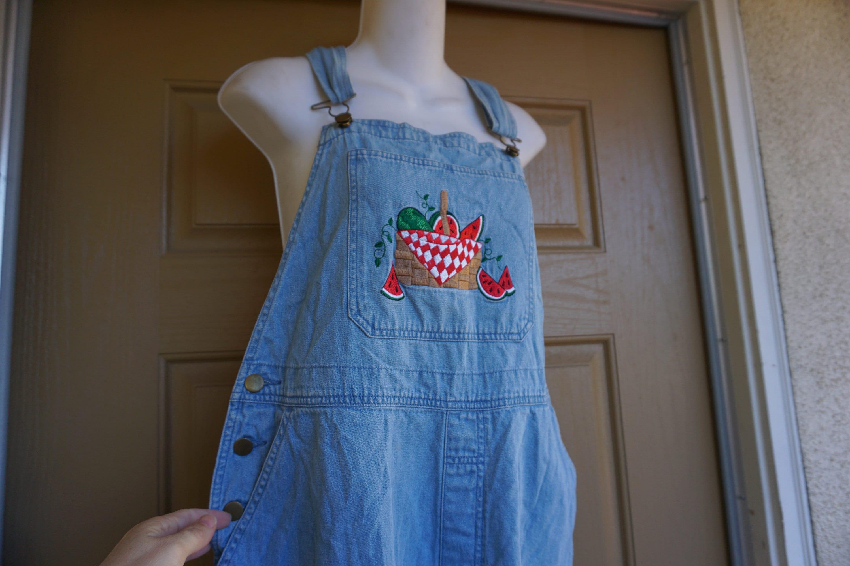 Vintage Overalls & Jumpsuits Overalls 80S 90S Blue Denim Mandal Bayoveralls Size L Large Womens Embroidered Watermelon Picnic Capri Flood Short $0.00 AT vintagedancer.com