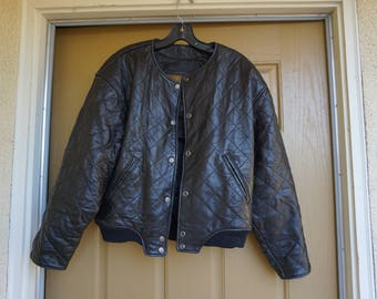 Vintage 80s/90s black leather jacket womens size S Small heavy duty short motorcycle leather express exp Thinsulate