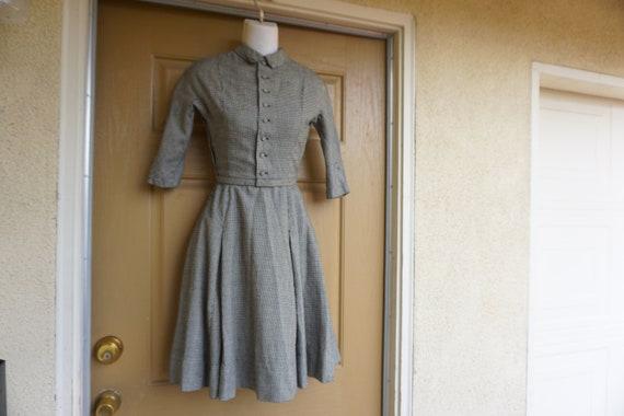 Vintage 1950s XXS dress mid century side metal zip