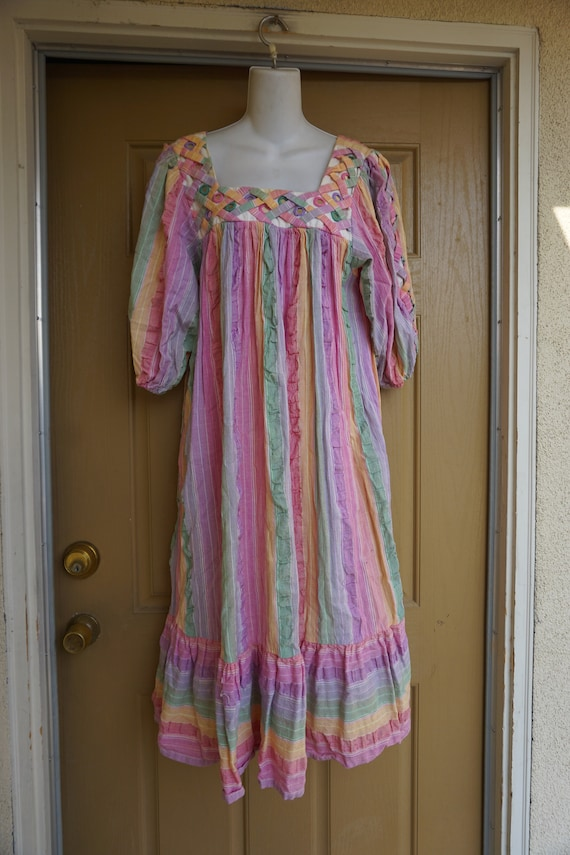 RAMONA RULL pastel Rainbow mirrored striped print… - image 4
