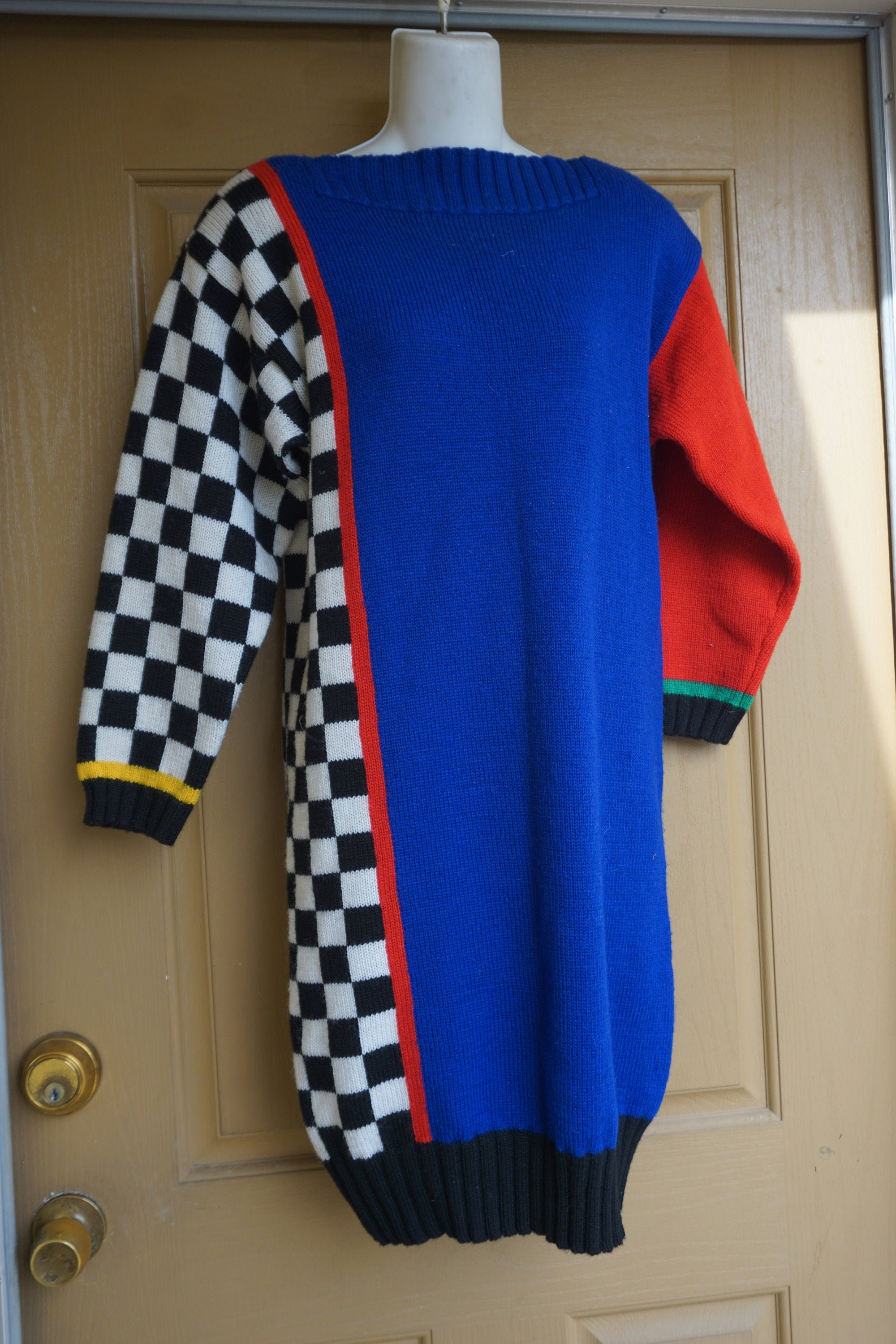 80s Dresses | Casual to Party Dresses Vintage 1980S Sweater Dress Heavy Knit Sweater With Large Shoulder Pads  Long Sleeves By Outlander $0.00 AT vintagedancer.com