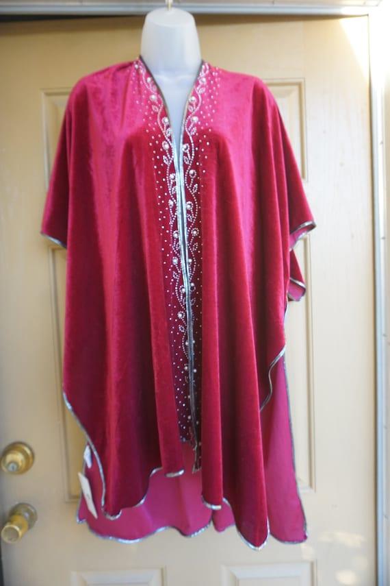 NWT Jessica McClintock Vintage velvety red blanke… - image 1