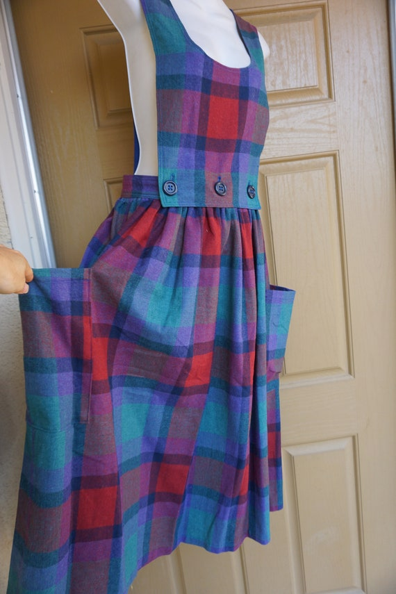 Vintage plaid overalls dress skirt 80s Size medium