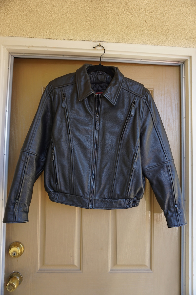 Vintage Black Leather Motorcycle  Biker Jacket MENS Size large 1980s 1990s 80s 90s  L By First Leather