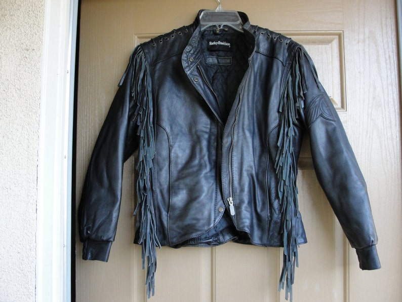 bac0fe1b1 Harley Davidson Vintage Black Leather Motorcycle / Biker Jacket WOMENS Size  38 small medium size 8 1980s 1990s 80s 90s genuine authentic
