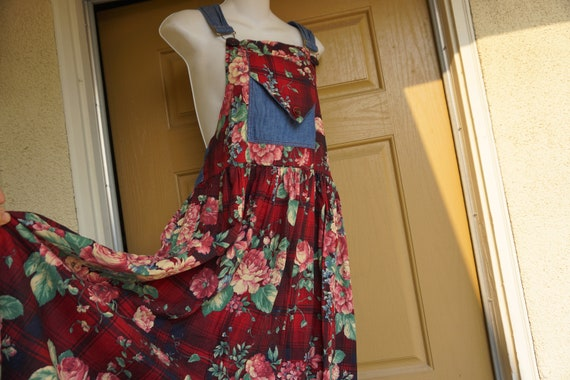 Vintage 1980s dress overalls skirt 90s size medium