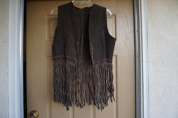 Vintage 1980s fringe suede leather vest Medium 80s