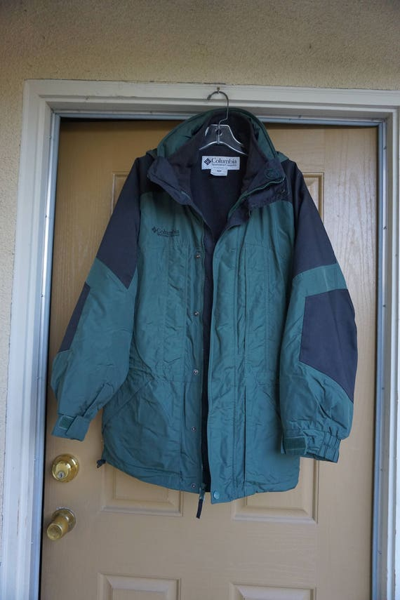 Columbia jacket coat mens size M Medium green 80s 90s 1980s 1990s hooded removable hood removable lining 1ofWlZ9