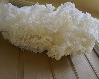 "Vintage 80s white petticoat small medium square dance soft nylon skirt halloween costume 1980s 90s 1990s full ruffles 21"""