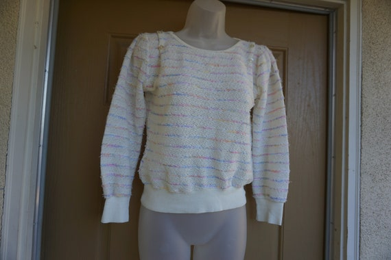 Vintage 1980s or 90s pastel heavy knit sweater si… - image 3