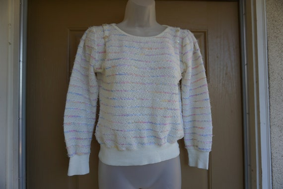 Vintage 1980s or 90s pastel heavy knit sweater si… - image 4