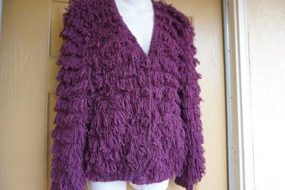 Vintage shaggy shag heavy sweater cardigan small c