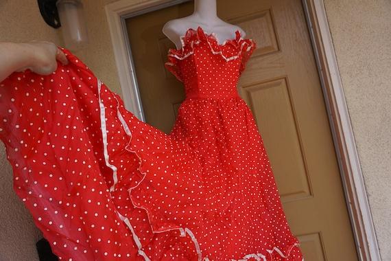 Gunne sax size 9  red and white polkadot dress 80s
