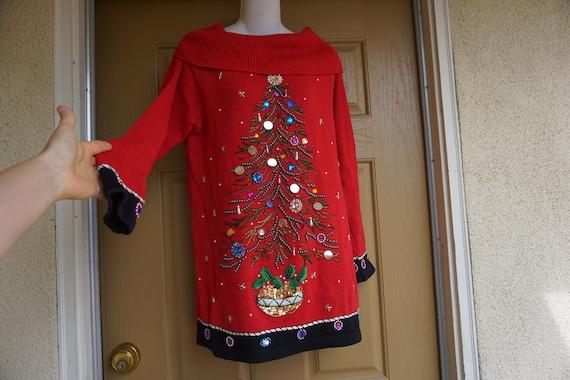 Victoria Jones Vintage ugly Christmas sweater tree