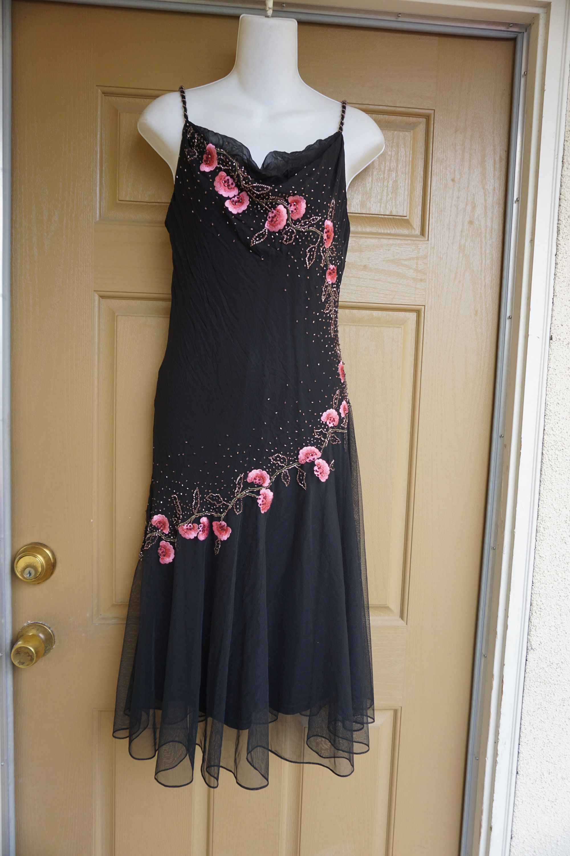 80s Dresses   Casual to Party Dresses xscape By Joanna Chen Vintage Size S Black Party Dress High Fashion Womens Clothing 1980S 80S Beaded Sparkly $0.00 AT vintagedancer.com