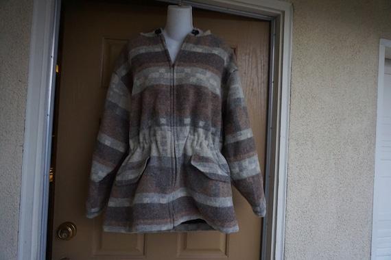 Woolrich coat, wool blanket coat with hood size la
