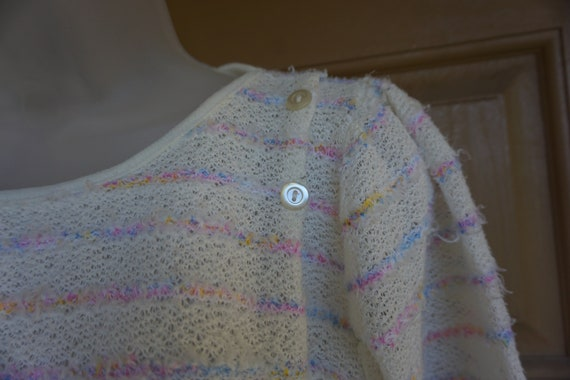 Vintage 1980s or 90s pastel heavy knit sweater si… - image 2