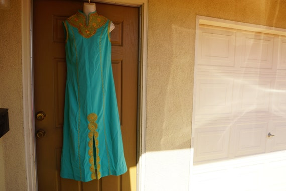 Gold Embroidered, Dress Maxi, Long, India Large XL