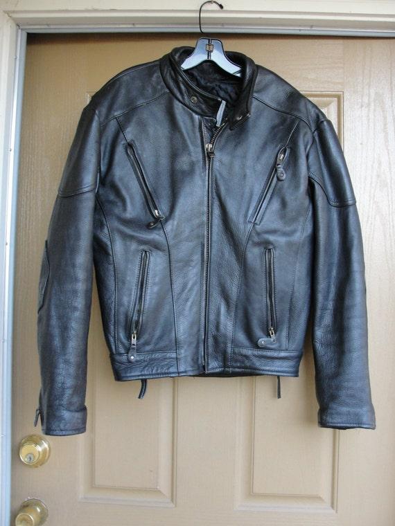 Vintage Black Leather Motorcycle / Biker Jacket ME