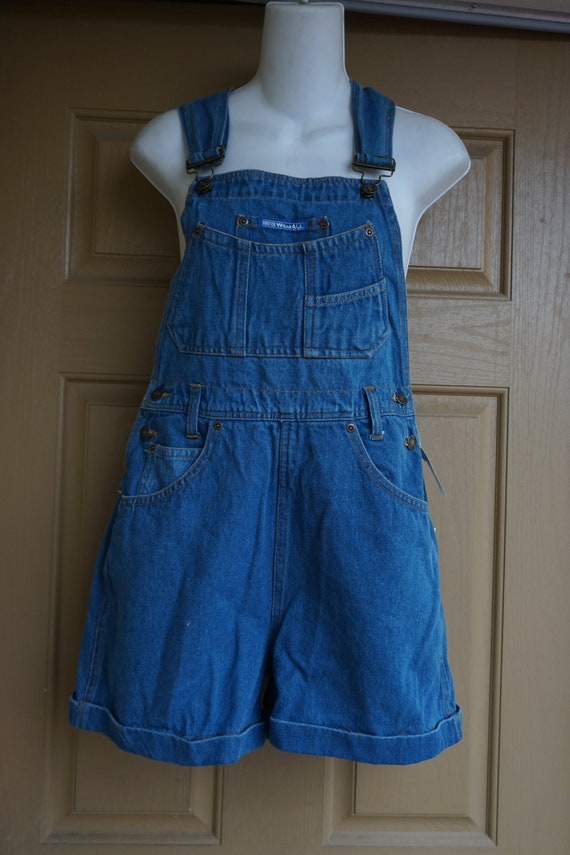 NWT Forever Wearall Vintage blue shorts overalls s
