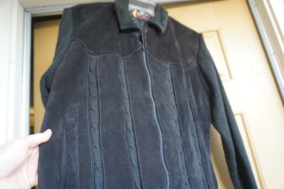 Suede leather and knit Jacket size large by Seahor