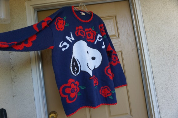 Vintage knit SNOOPY sweater plus size 1x cute heav