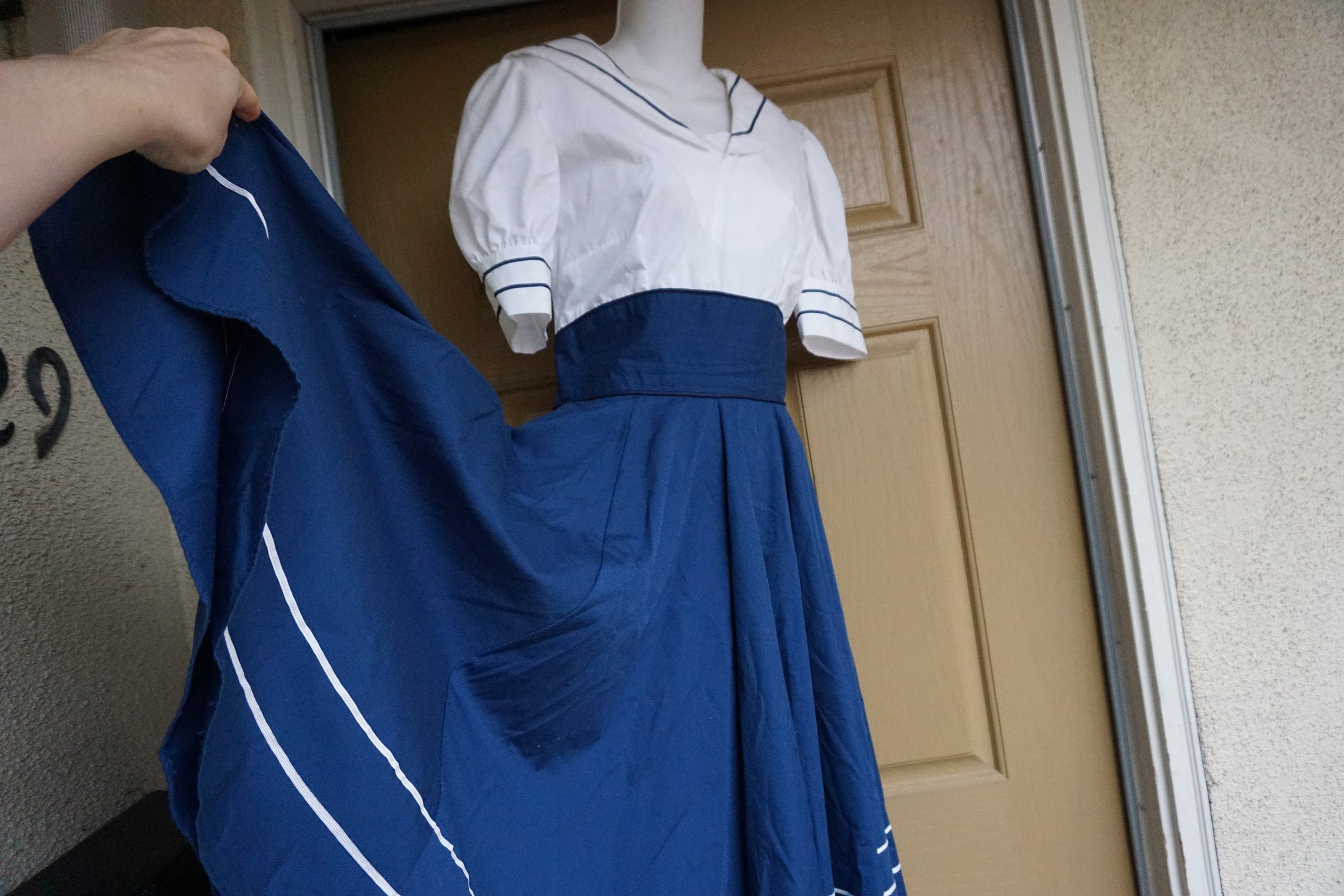 80s Dresses | Casual to Party Dresses Nautical Vintage 1980S Dress Medium Sailor Nayy Blue  White With Gold Embroidered Stars $0.00 AT vintagedancer.com