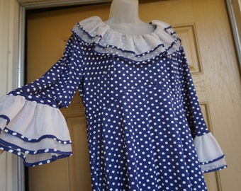 Vintage 1960s polkadot dress with back metal zipper 60s retro blue and white