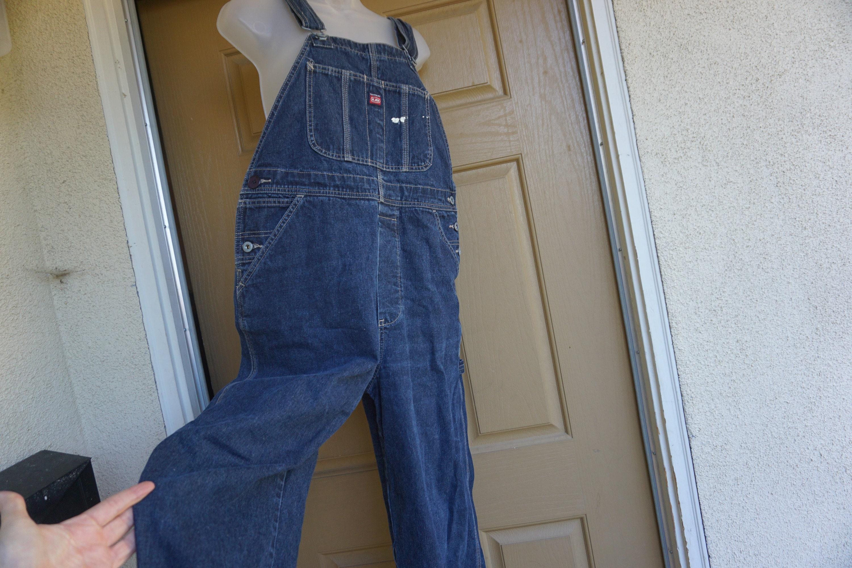 Vintage Overalls & Jumpsuits Damaged Unionbay Dark Blue Denim Overalls Size Large Womens $0.00 AT vintagedancer.com