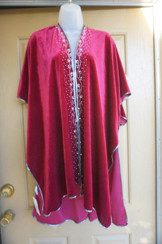 NWT Jessica McClintock Vintage velvety red blanke… - image 9