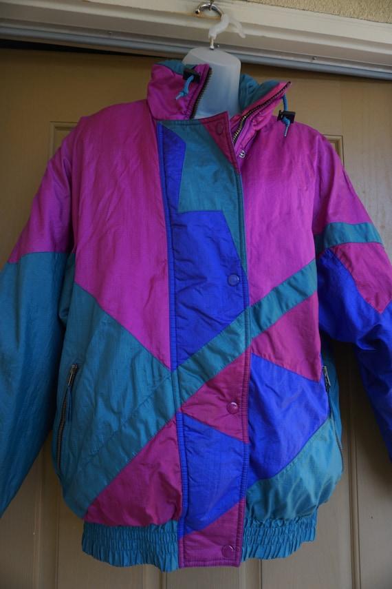 Vintage 1980s or 90s  nylon / polyester ski jacke… - image 3