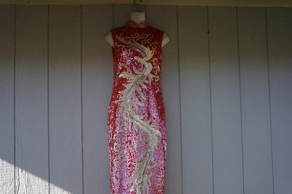 Cheongsam sequined dress small