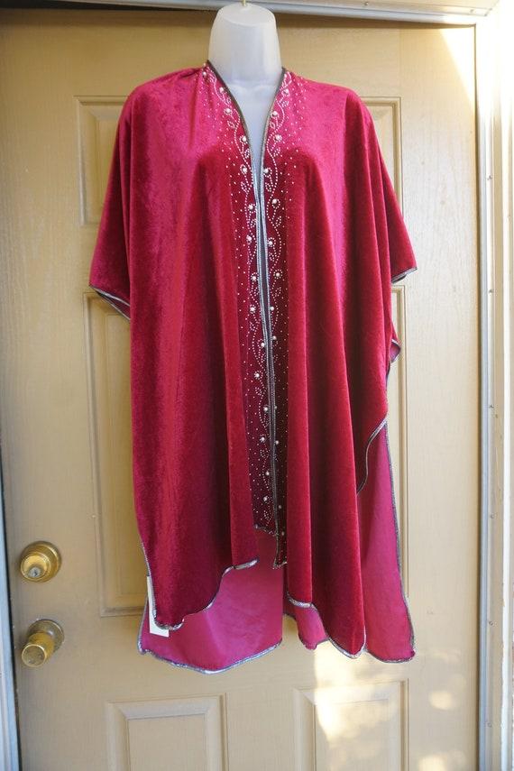 NWT Jessica McClintock Vintage velvety red blanke… - image 2