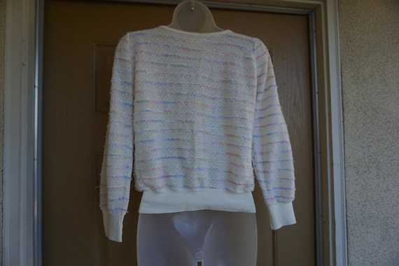Vintage 1980s or 90s pastel heavy knit sweater si… - image 7