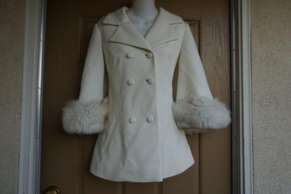 Lilli Ann Fur trim coat jacket designer small - me