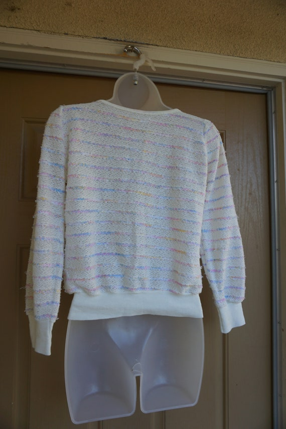 Vintage 1980s or 90s pastel heavy knit sweater si… - image 8