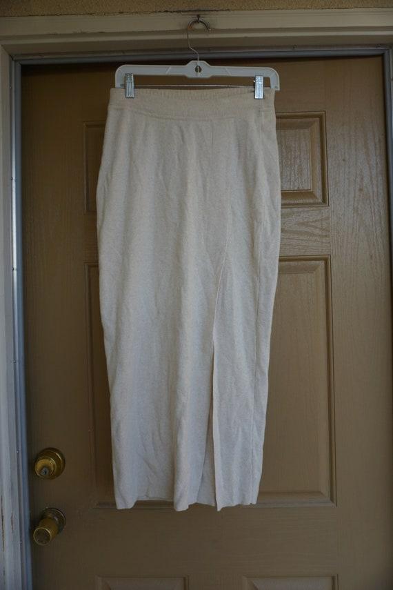 ESCADA knit skirt warm winter light beige 90s 1990s designer medium