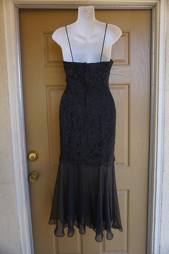 1990s vintage maxi mermaid black lace dress size … - image 6