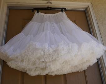 """Vintage 80s white petticoat medium square dance soft nylon skirt halloween costume 1980s 90s 1990s full ruffles 21"""""""