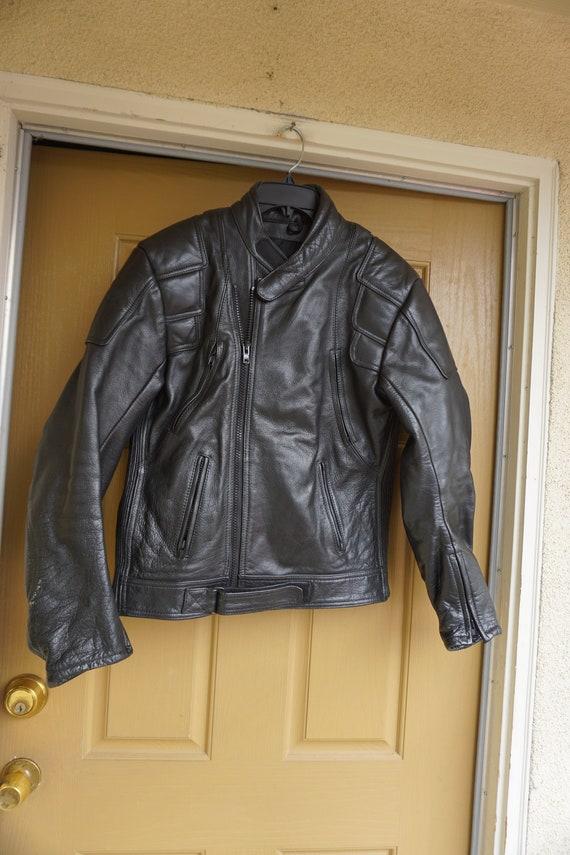 Vintage Black Leather Motorcycle // Biker Jacket M