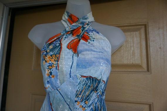Vintage 1970s metallic floral maxi halter dress 70