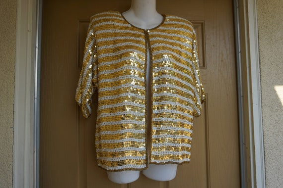Vintage cropped sparkly sequined jacket M Medium b