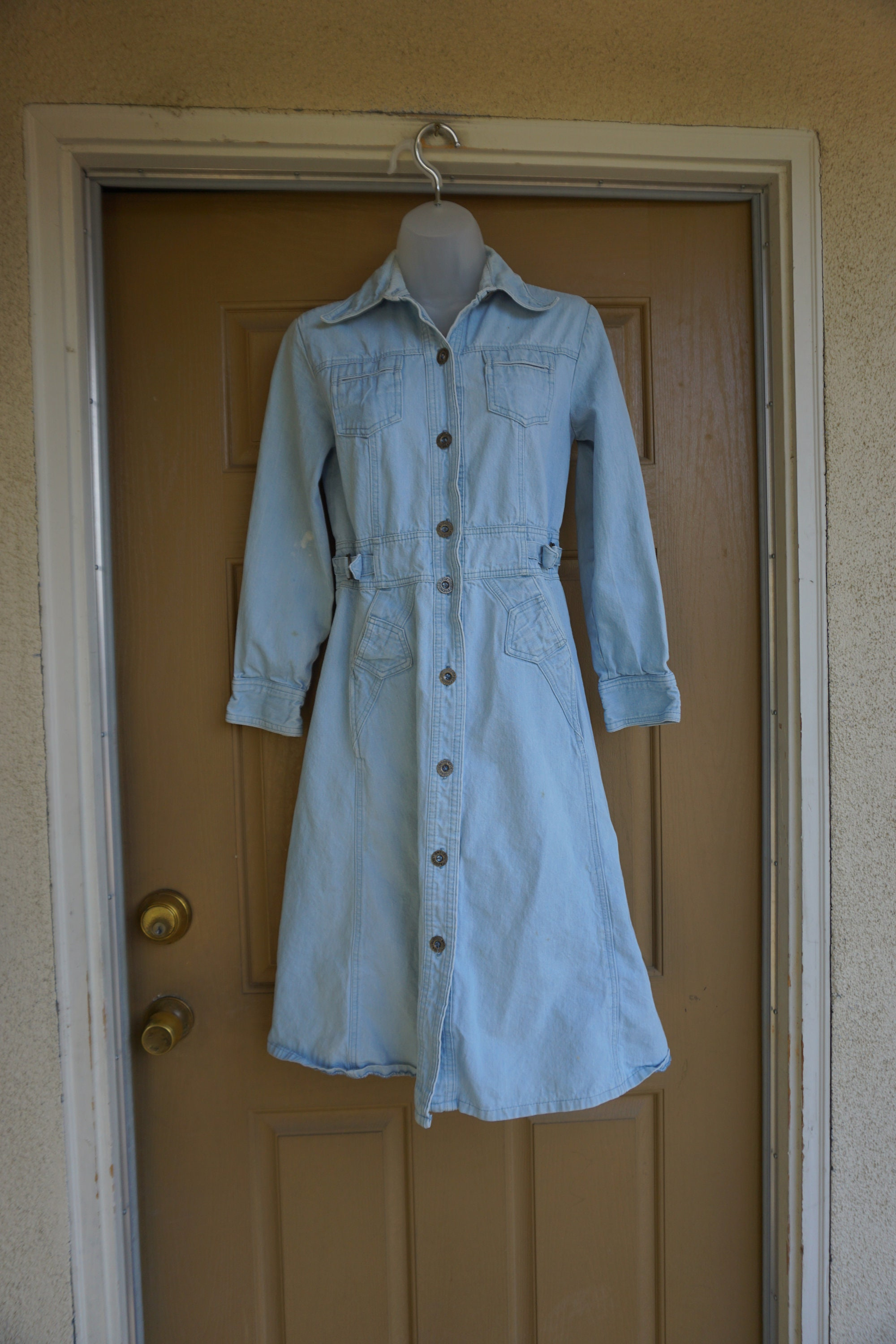 80s Dresses | Casual to Party Dresses Vintage 80S 90S Size 9 Medium Long Denim Jean Dress Made By Foxmoor 1980S 1990S $0.00 AT vintagedancer.com